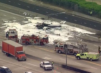 Plane Crash on Freeway Near Los Angeles Injures Two, Halts Traffic in Busiest Section of Interstate 405