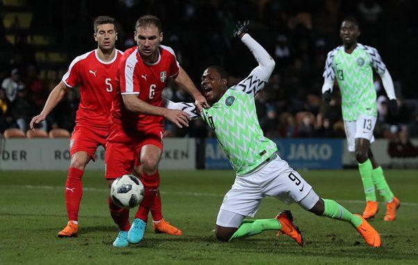 Super Eagles lose 0-2 to Serbia