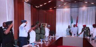 Metele Killing: President Buhari meets security chiefs
