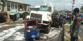 4 injured as petrol tanker collides with tricycles in Yenagoa