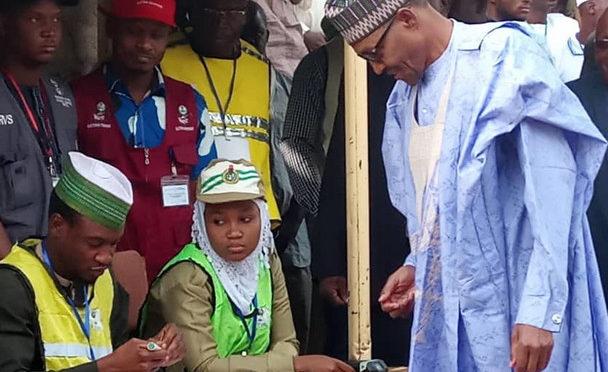 Buhari, Wife Cast Votes in Daura