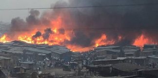 Many Collapse As Fire Guts Popular Lagos Plank Market