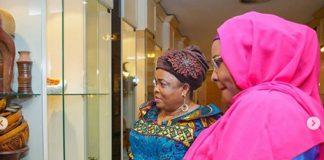 Aisha Buhari, Hosts Predecessor, Patience Jonathan At Presidential Villa