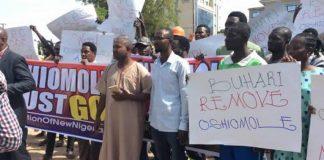 Protesters Storm APC Headquarters, Demand Oshiomhole's Sack