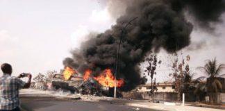 BREAKING: Many Feared Dead As Tanker, Bus Collide In Lagos