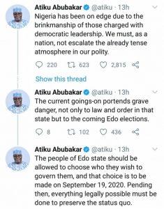 Edo 2020: Let Edo People Decide Who Governs Them - Atiku